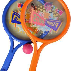 Set rakety plastové s obrázkem 40cm na soft tenis + míček pěnový