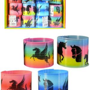 Spirála magická s obrázkem 6,5cm koně duhová plast 4 druhy