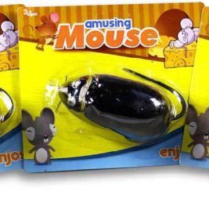 Myš na zpětné natažení 10cm na kartě plast 3 barvy