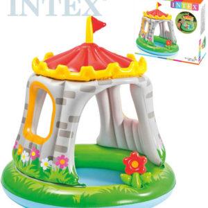 INTEX Bazének nafukovací dětský hrad 122x122cm baby se stříškou 57122