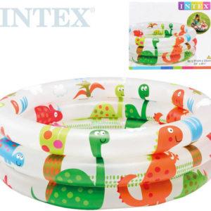 INTEX Bazének dětský nafukovací kruh 61x22cm baby Dinosauři bílý 57106
