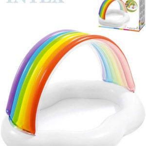 INTEX Baby bazének duhová stříška 142x119x84cm brouzdaliště obláček 57141