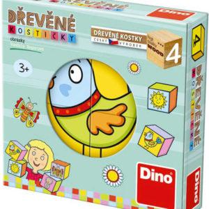 DINO DŘEVO Kostky dětské obrázkové kubus set 4ks *DŘEVĚNÉ HRAČKY*
