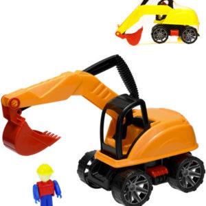 Bagr plastový 31cm stavební stroj set s figurkou volný chod 2 barvy