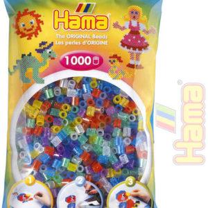 HAMA Korálky dětské zažehlovací třpytivé set 1000ks v sáčku midi plast