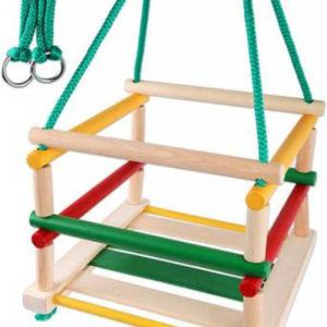 DŘEVO Houpačka dětská závěsná dřevěná barevná s ohrádkou