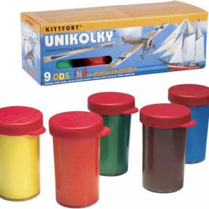 Unikolky modelářské lesklé barvy set 9 barev + matný lak ZDARMA vodou ředitelné