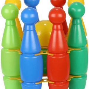 PL Hra kuželky dětské střední barevné set 8ks + 2 koule plast