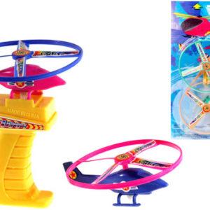 Vrtulník vystřelovací plastový set 2 kusy 2 barvy na kartě