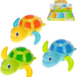 Želvička plavající 11cm do vody na natažení 3 barvy plast