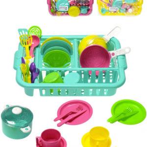 Kuchyňský set 31ks dětské plastové nádobí s odkapávačem 3 barvy v sáčku