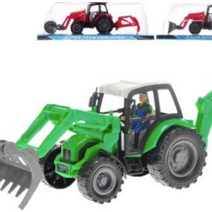 Traktor farmářský 28cm na setrvačník se dvěma lžícemi 3 druhy plast
