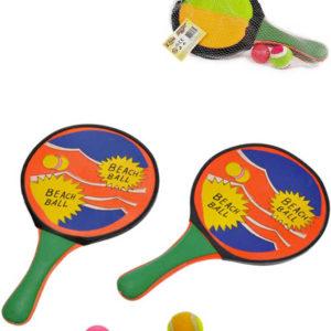 Sada 2 pálky plážové + 2 míčky na catch ball a soft tenis 2v1 v síťce plast